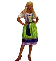 Bavarian Dirndl Costume Green/Purple (0011)